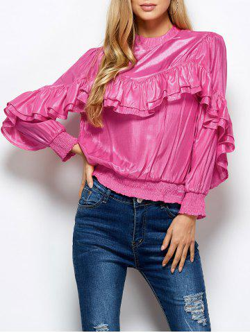 Shops Stand Neck Ruffles Embellished Blouse PINK L