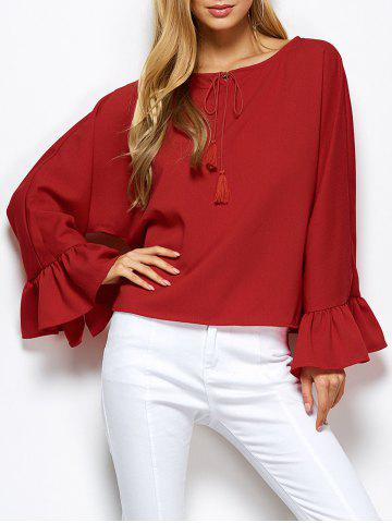 Store Dolman Sleeve Ruffles Loose Blouse RED 2XL