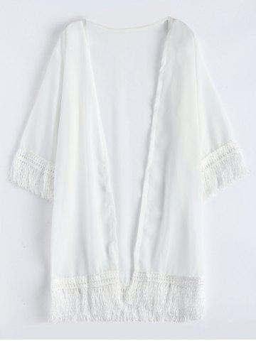 Chiffon Fringed Summer Cardigan Kimono Cover Up - White - One Size