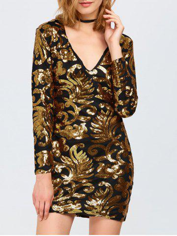 Affordable Sparkly Party Glitter Sequin Bodycon Mini Dress with Long Sleeves GOLDEN L