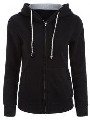Drawstring Zipper Up Hoodie