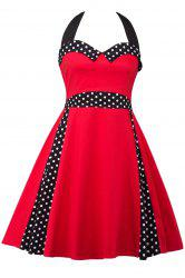 Halter Polka Dot Plus Size Pin Up Dress