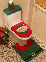 3PCS Christmas Supplies Bathroom Toilet Closestool Cover Floor Mats - RED AND GREEN