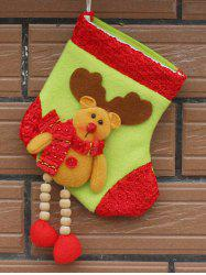 Merry Christmas Decoration Deer Pattern Hanging Santa Present Sock - YELLOW