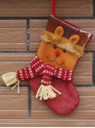 Santa Present Stocking Sock With Deer Patern Christmas Decoration