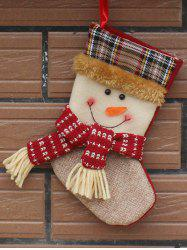 Christmas Tree Hanging Decoration Snowman Present Stocking Sock - WHITE