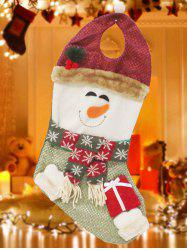 Happy New Year Christmas Snowman Hanging Gift Bag Sock - RED/GREEN