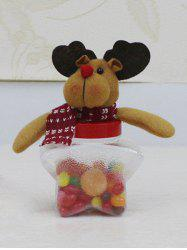 Christmas Supplies Plush Elk Doll Transparent Star Shape Candy Jar - TRANSPARENT