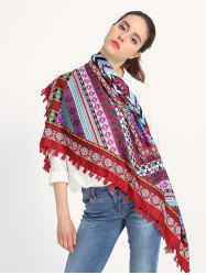 Ethnic Geometry Pattern Tassel Shawl Wrap Scarf