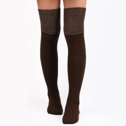 Warm Ribbed Knit Stockings - COFFEE