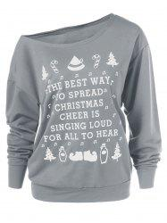 Christmas Graphic Pullover Skew Neck Sweatshirt