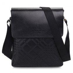 Concise Embossing and Dark Color Design Messenger Bag For Men - BLACK