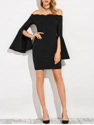 Waved Slit Sleeve Fitted Off The Shoulder Dress