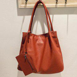 Dark Color PU Leather Embossed Shoulder Bag -