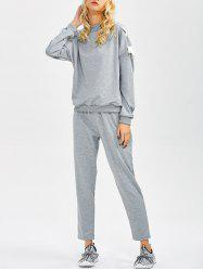 Lace Up Sweatshirt and Jogger Pants