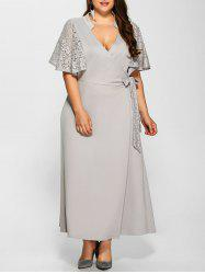 Lace Insert V Neck Bowknot Dress