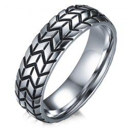 Tire Engraved Alloy Ring - SILVER