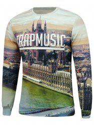 City View 3D Print Crew Neck Sweatshrit