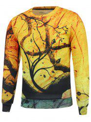 Long Sleeve 3D Tree Print Sweatshrit