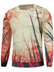 Crew Neck Trees 3D Print Pullover Sweatshrit