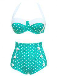Heart Print Vintage High Waisted Bikini