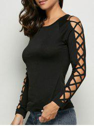 Cut Out Raglan Sleeve Plain T-Shirt