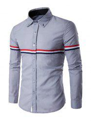 Long Sleeve Stripe Panel Button Down Shirt - GRAY L