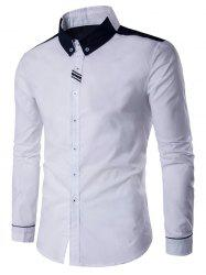 Long Sleeve Contrast Panel Button Down Shirt