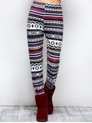High Waist Asymmetrical Print Leggings - BLACK AND WHITE AND PURPLE