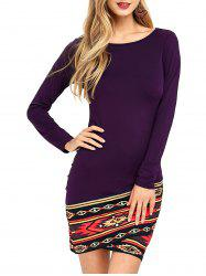 Tribal Trim Overlap Long Sleeve Bodycon Dress