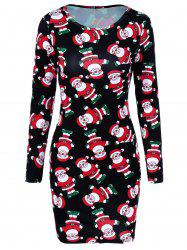 Santa Claus Print Long Sleeve Bodycon Dress