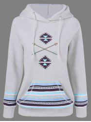 Arrow Print Kangaroo Pocket Hoodie - LIGHT GRAY