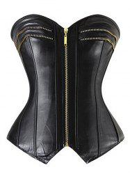 Strapless Lace Up PU Steel Boned Corset