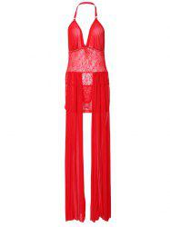 Halter See-Through Lace Maxi Babydoll