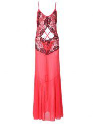 Spaghetti Strap Hollow Out Backless Maxi Babydoll - RED