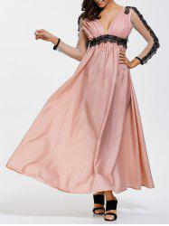 Backless A Line Prom Formal Dress with Sleeves