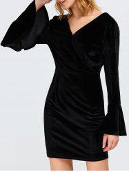 Backless Bell Sleeve Plunge  Dress