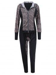 Athletic Pants With Leopard Zipper Hoodie