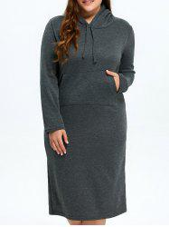 Plus Size Hooded Sheath Hoodie Dress -