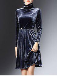 High Neck Long Sleeve Velvet Smock Dress