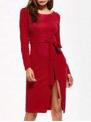Round Neck Furcal Belted Bodycon Dress -
