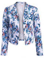 Short Floral Open Front Crop Blazer
