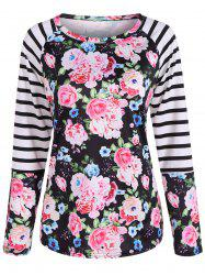 Floral Print Raglan Sleeve Striped Tee