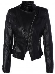 Inclined Zipper PU Leather Biker Jacket - BLACK