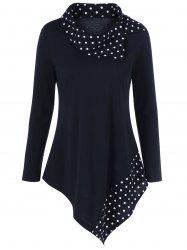Polka Dot Trim Asymmetrical T-Shirt