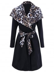 Leopard Trim Waterfall Trench Coat -