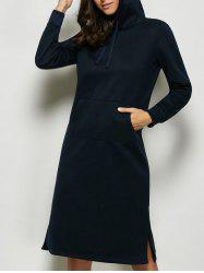 Hooded Kangaroo Pocket Midi Dress - DEEP BLUE XL