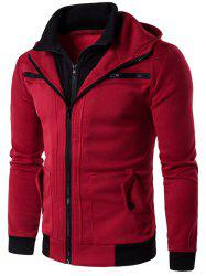 Zipper Embellished Faux Twinset Hoodie - WINE RED
