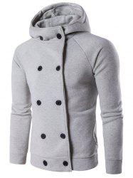 Double Breasted Raglan Sleeve Hoodie - LIGHT GRAY