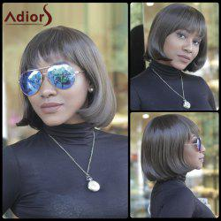 Vogue Medium Straight Side Bang Capless Brown Mixed Synthetic Wig For Women